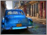 Blue Car in Havana  Cuba  Caribbean