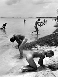 Naked Us Soldiers Bathing in the Pacific Ocean During a Lull in the Fighting on Saipan