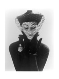 Anne Gunning in an Erik felt and Velvet Mandarin Hat with Veil  1950