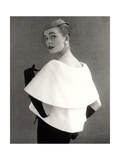 Susan Abraham in a John Cavanagh Tiered Evening Jacket  Dress and Hat  1954