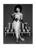 Model in John Cavanagh's Strapless Evening Gown  Spring 1957