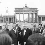 Ludwig Erhard and Willy Brandt  Mayor of West Berlin  Inspect the Sector Border at Brandenburg…