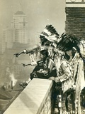 Blackfoot Indians on the Roof of the McAlpin Hotel  Refusing to Sleep in their Rooms  New York City