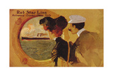 Poster Advertising the 'Red Star Line' from Antwerp to New York Via Dover