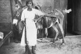 Pueblo Girl and Burro  1900