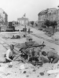 """Truemmermaenner (""""Rubble Men"""") at Unter Den Linden  Berlin  June 1946"""