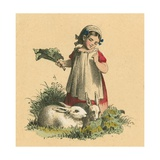 Girl with Her Rabbits