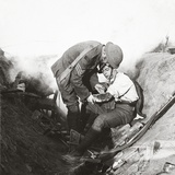 Receiving First Aid from His Sergeant in a Sap During the Height of Battle at Peronne  1918