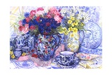 Cornflowers with Antique Jugs and Patterned Fabrics  2012