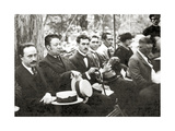 Jose Vasconcelos and Diego Rivera During an Outdoor Event at Chapultepec Park  Mexico City  1921