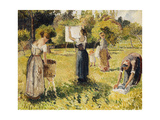 Study of Washers at Eragny; Les Laveuses  Etude  a Eragny  c1901