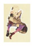 Seated Girl with Striped Stockings; Sitzendes Madchen Mit Gestreiften Strumpfen  1910