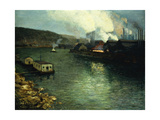 Evening  Factories on the River  1923