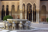 Courtyard of the Lions in the Alhambra  a Medieval Moorish City  Granada  Spain