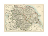 Map of Yorkshire, England, 1870s Giclée