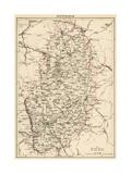 Map of Nottinghamshire, England, 1870s Giclée