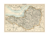 Map of Somerset, England, 1870s Giclée