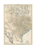 Map of Texas and Indian Territory (Now Oklahoma), 1870s Giclée