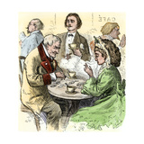 Man and Woman Playing Dominoes in a Cafe, 1800s Giclée