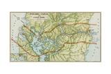 Panama Canal Zone Map, 1913 - north Diagonally Left Papier Photo