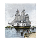 """USS """"Constitution"""" Being Towed Out of Boston Harbor  1812"""