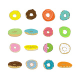 16 Donuts on White