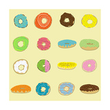 16 Donuts on Yellow