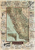 Map of California Roads for Cyclers, 1896 Reproduction d'art par George W. Blum