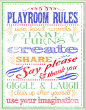 White Playroom Rules Plaque Oversized