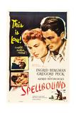 Spellbound  Ingrid Bergman  Gregory Peck on poster art  1945