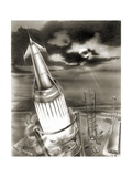 Moon Rocket Launch  1950s Artwork