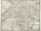 Map of Paris, from 'L'Atlas De Paris' by Jean De La Caille, 1714 Reproduction d'art