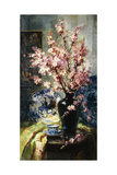 Apple Blossoms and Blue and White Porcelain on a Table