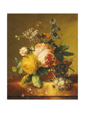 Roses and Other Flowers in a Basket on a Marble Ledge  C1742