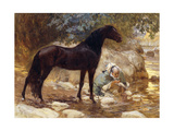 An Arab Watering His Horse by a River  C1890-1900