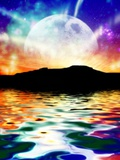 Moon Over Ocean Landscape  Artwork
