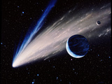 Artwork of a Comet Passing the Earth
