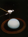 Artwork Showing Voyager 2 Nearing Uranus