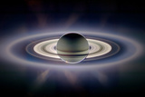 Saturn Silhouetted  Cassini Image