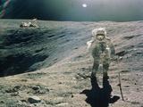 Astronaut Duke Next To Plum Crater  Apollo 16