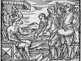 Arriving In Hell  17th Century Woodcut