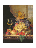 A Still Life with Grapes  Raspberries and a Glass of Wine