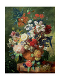 Still Life of Flowers and a Bird's Nest on a Pedestal