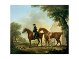 Mr Crewe's Hunters with a Groom Near a Wooden Barn