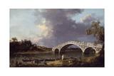 Old Walton Bridge over the Thames  1754