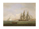 A Frigate Running under Full Sail  with a Cutter and a Lugger Off the West Country