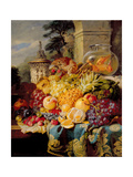 Still Life of Fruit on a Ledge with a Goldfish Bowl  1876