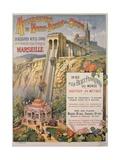 Poster Advertising the Elevator of Notre-Dame De La Garde  Marseilles  C1900
