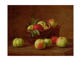 Apples in a Basket and on a Table  1888