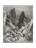 The Children Destroyed by Bears  Illustration from Dore's 'The Holy Bible'  1866